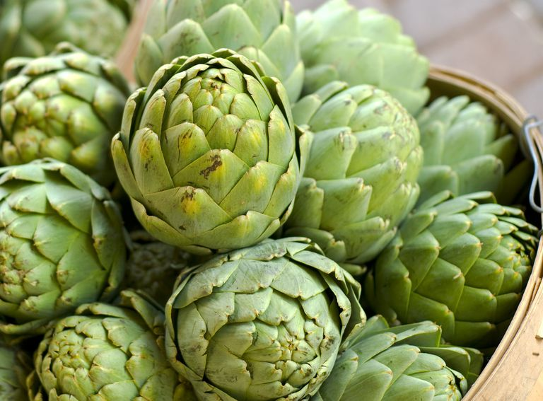 Artichoke in Baskets, Fresh Spring Vegetables at Farmer's Market