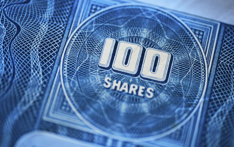Picture of stock certificate that indicates 100 shares