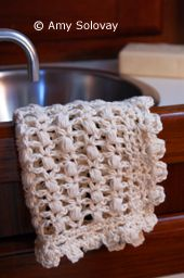 Puff Stitch Lace Crochet Dishcloth or Washcloth -- Free Crochet Pattern