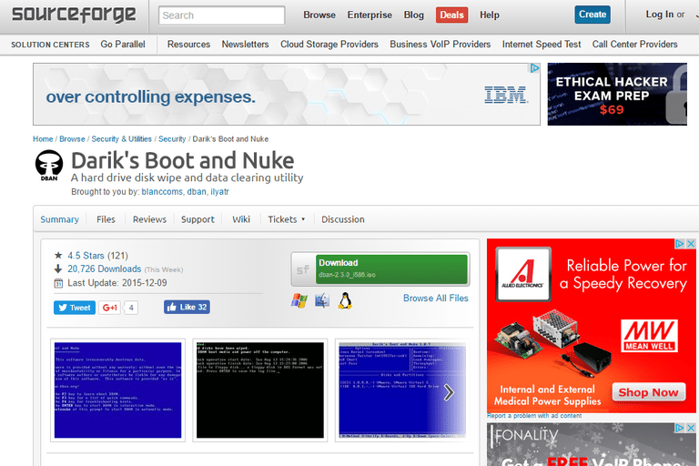 Screenshot of the DBAN download page