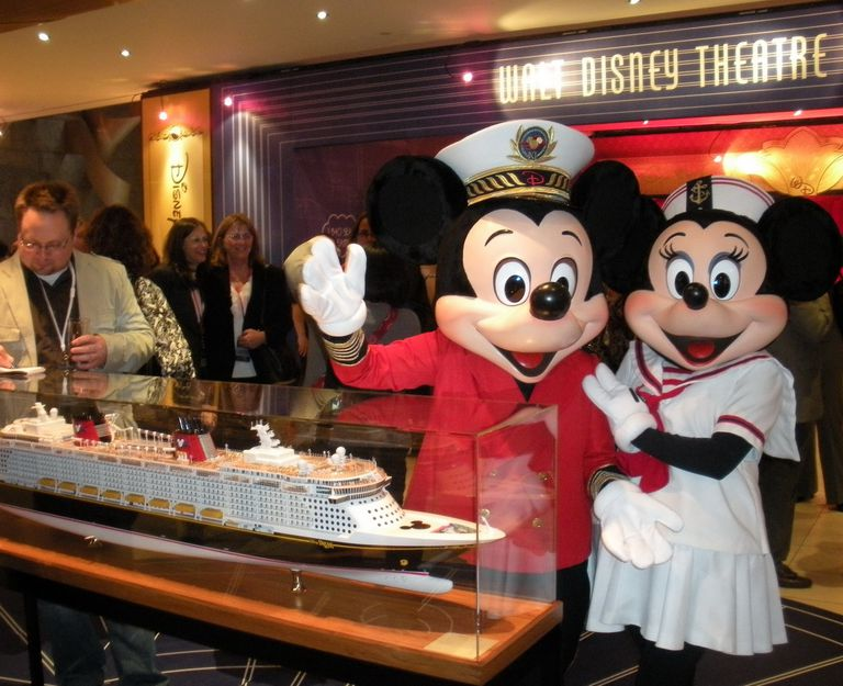 Mickey Mouse, Minnie Mouse, and the Model of the Disney Dream at the Disney Dream Preview Event