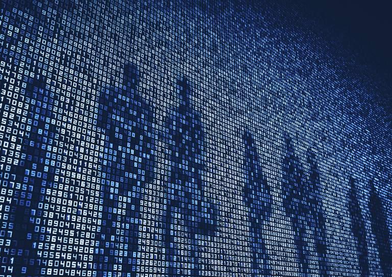 Image of human shadows on a giant digital screen