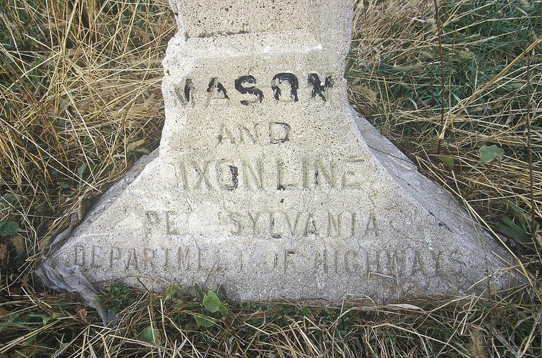 Marker at the Mason Dixon line separating North from South during Civil War at Pennsylvania and Maryland