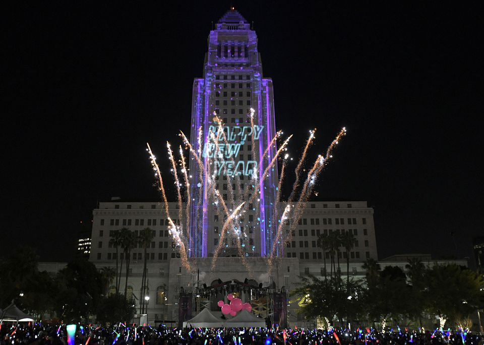 Grand Park NYE lit by fireworks