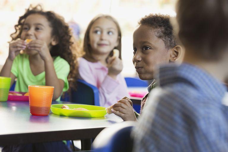 Children eating snacks in elementary school classroom