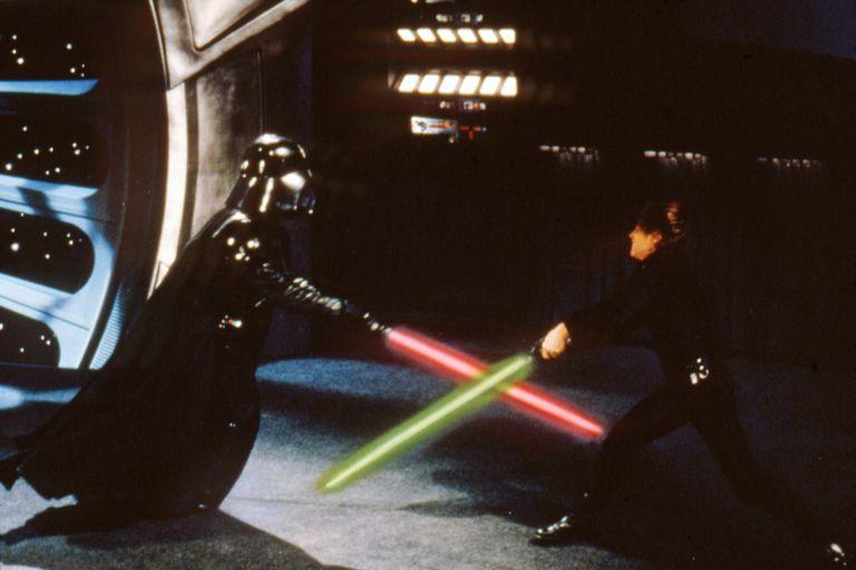 """Darth Vader and Luke Skywalker engage in a lightsaber battle in """"Star Wars: Episode VI - Return of the Jedi"""""""