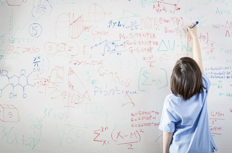 Schoolgirl in front of wipe board, math equations