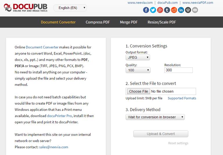 Screenshot of the docuPub website