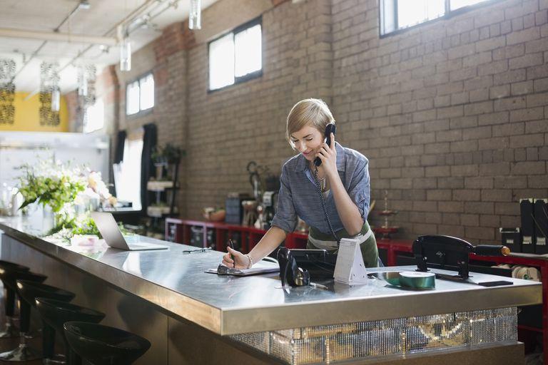 Business owner multitasking
