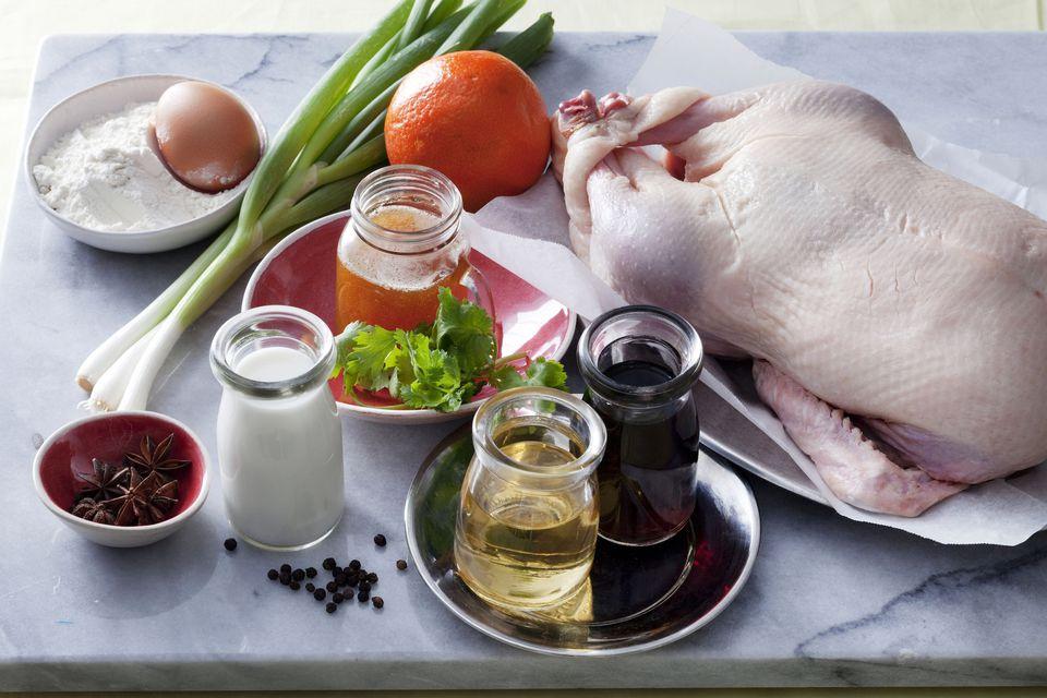 ingredients to make crispy duck pancakes
