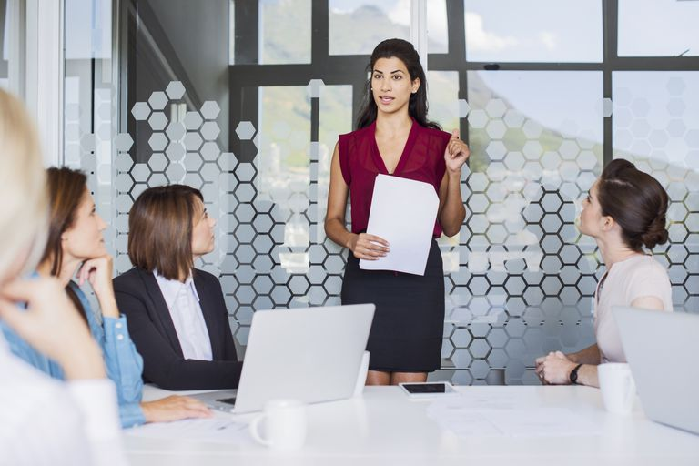 Businesswoman leading a meeting