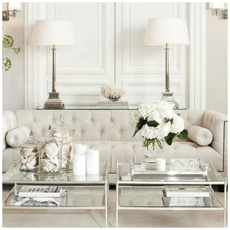 Luxurious White Living Room Glamorous Neutral