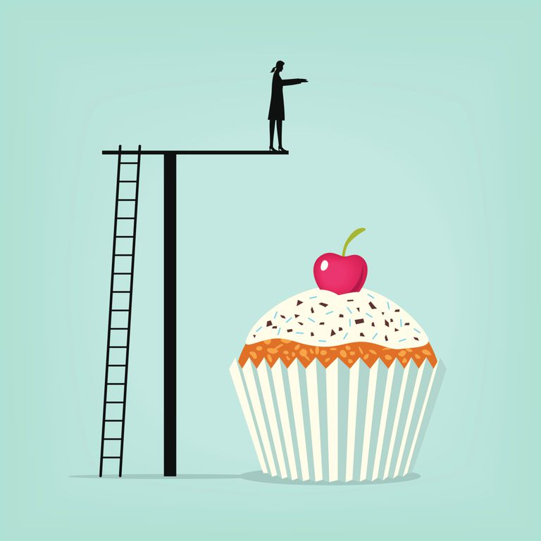 Graphic illustration of woman diving into cupcake