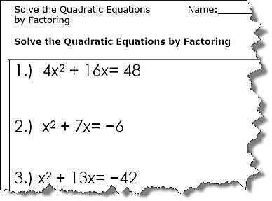 Quadratic Worksheets