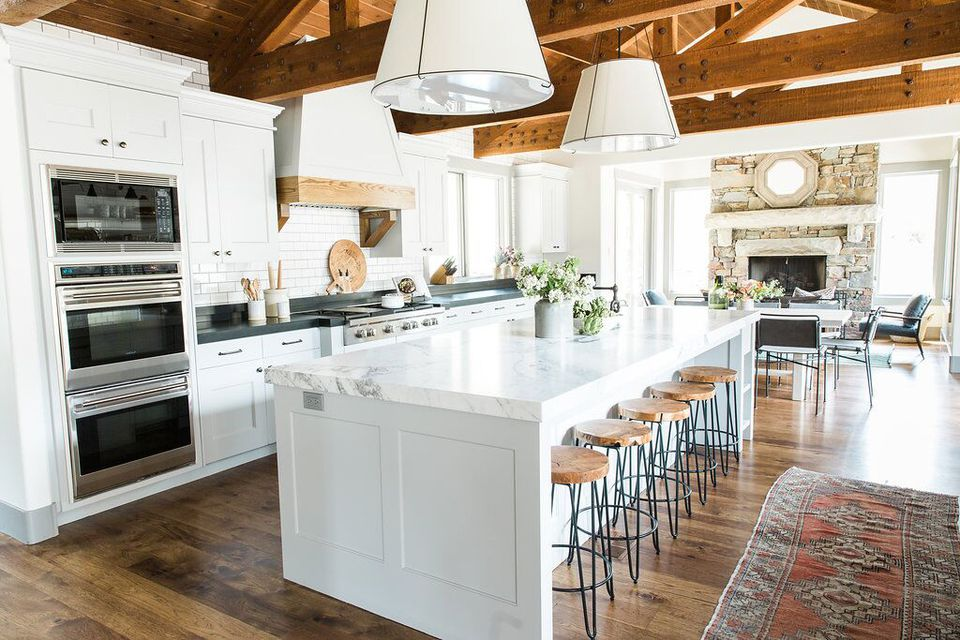 Rustic modern white wood farmhouse kitchen