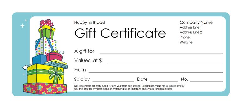 173 free gift certificate templates you can customize a birthday gift certificate template yelopaper Gallery