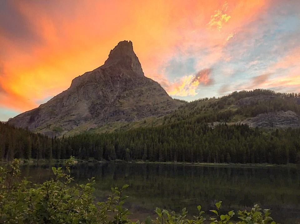 Mountain with sunset
