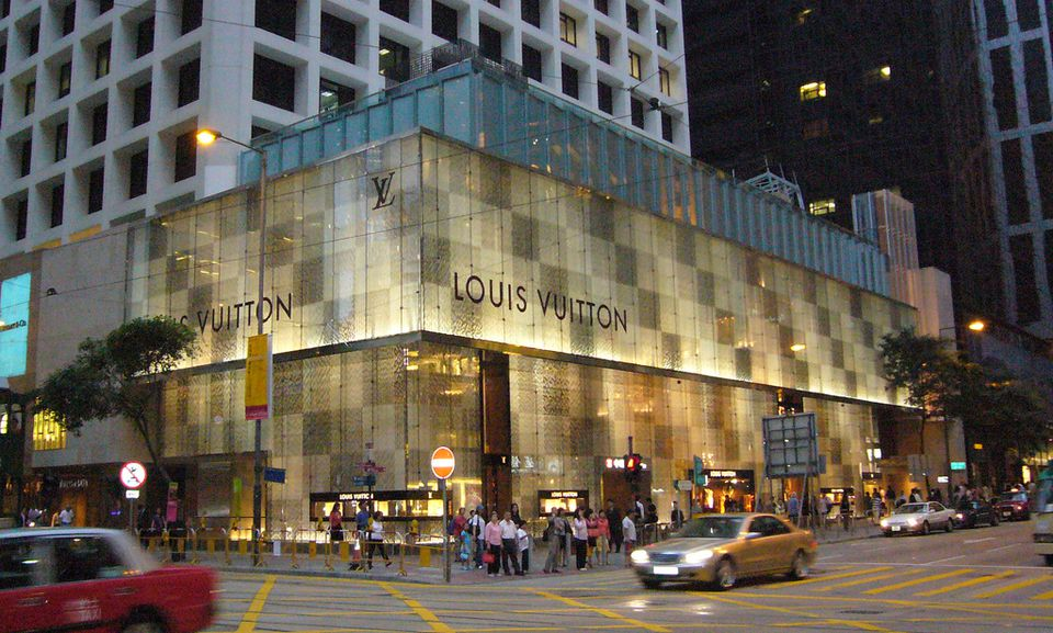 Exterior of the Louis Vuitton store.