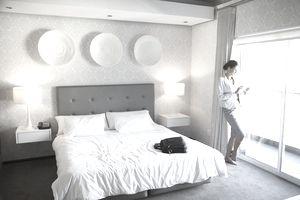 Businesswoman in hotel room