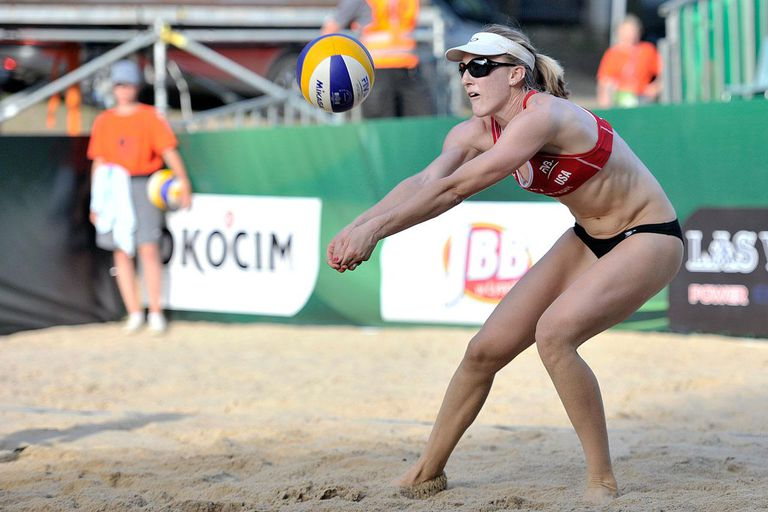STARE JABLONKI, POLAND - JULY 4: Emily Day of USA passes the ball during the match between Austria and USA during Day 4 of the FIVB World Championships on July 4, 2013 in Stare Jablonki, Poland.