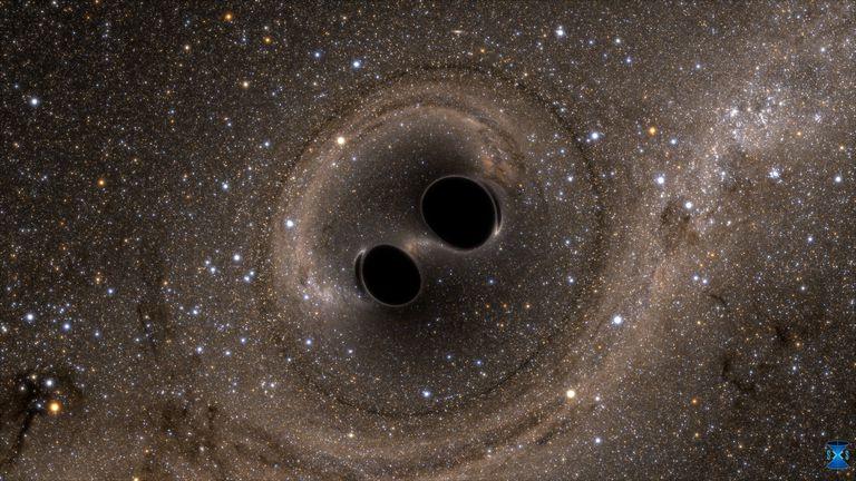 black holes colliding to create gravitational waves