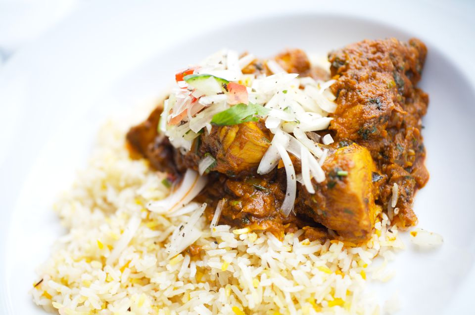 Chicken curry over rice