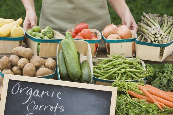 Baskets of organic vegetables