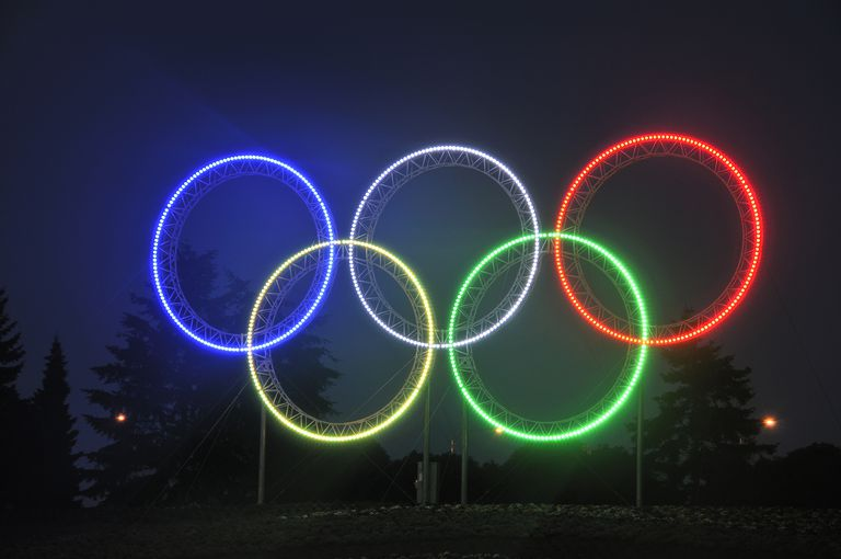 Vancouver 2010 Oympic Games Olympic Ring lights near Vancouver airport, Richmond, British Columbia, Canada
