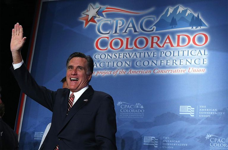 Mitt Romney waves during the regional Conservative Political Action Conference (CPAC) on October 4, 2012