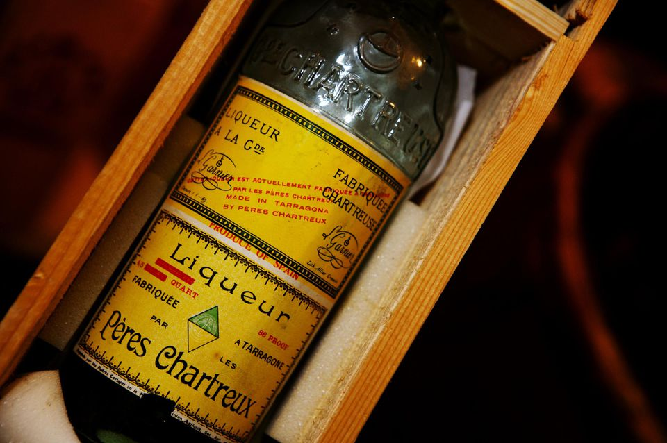Liqueur Peres Chartreux, green and yellow, known as Chartreuse.