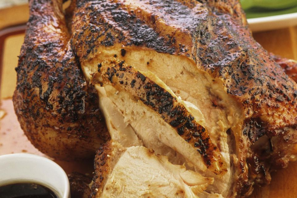 China, Partly carved marinated roast chicken