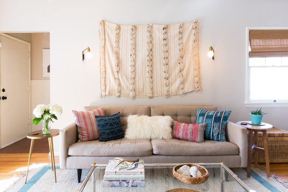 moroccan wedding blanket over sofa hero
