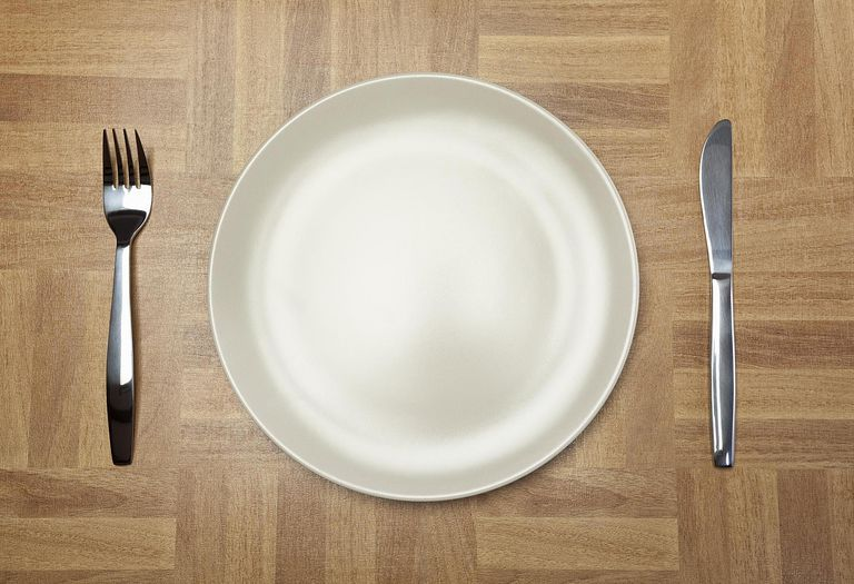 Place setting with empty plate and cutlery