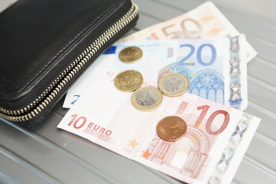 Wallet with euro notes and coins