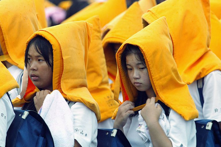 Students undergo a national earthquake drill