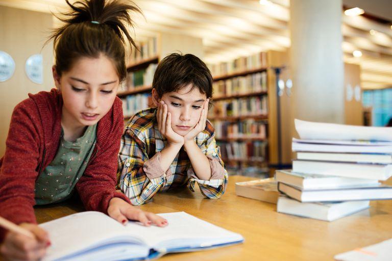 Kids working on school project
