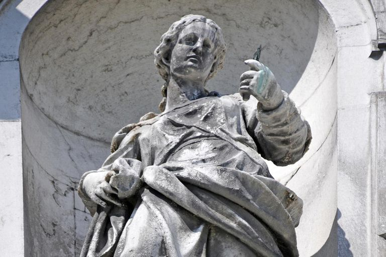 Statue of allegory of Prudence by Gaetano Fusali on the church of Santa Maria del Rosario (Venice)