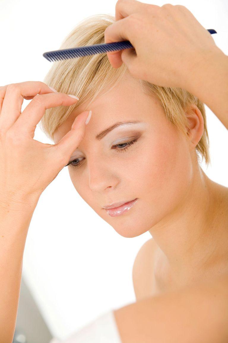 Fixing model's hair