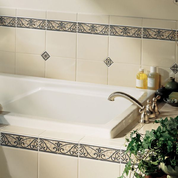 Bathroom tile pictures for design ideas for Glass tile border bathroom ideas