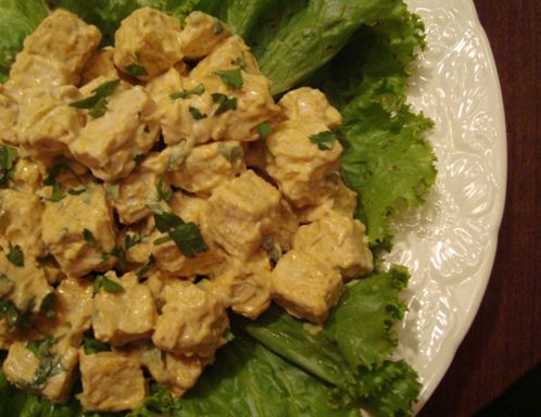 Vegetarian tempeh chicken salad on a bed of lettuce