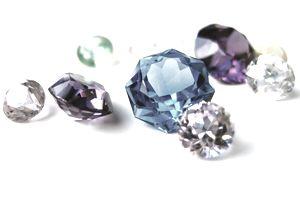 Multicolor gemstones jewels diamonds close-up