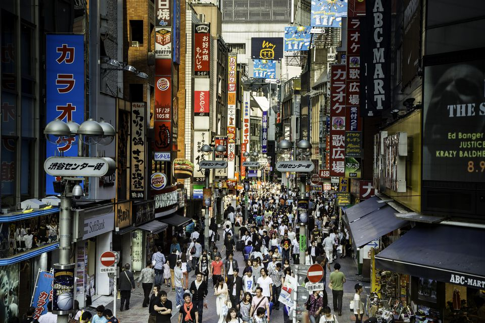 Asia travel: busy street in tokyo