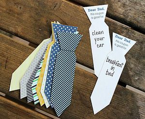 Paper ties as coupons laying on a table.