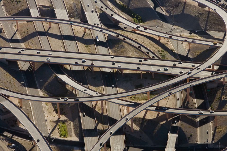 The interchange of Interstate Highways 25 and 40 in Albuquerque, New Mexico.