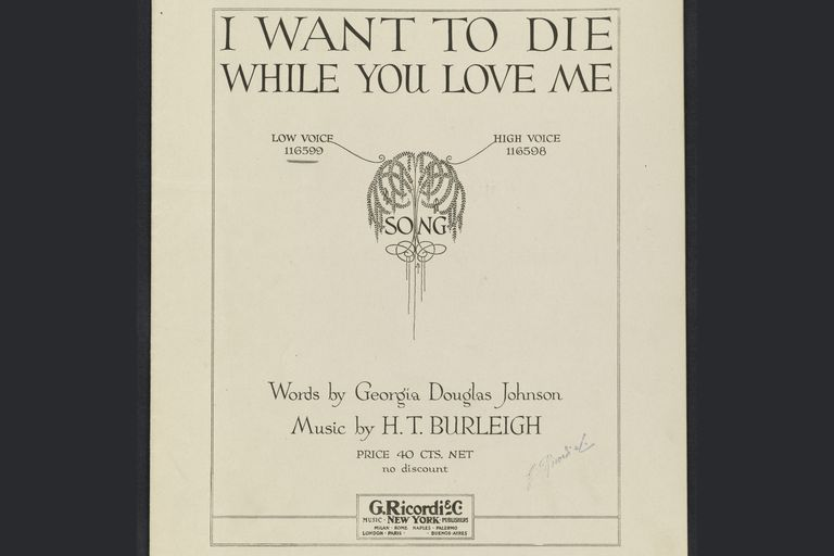 Published song with words by Georgia Douglas Johnson