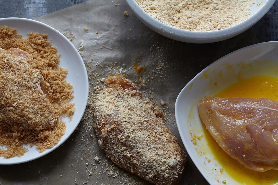 Set of ingredients for fried chicken