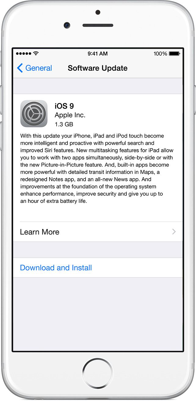 iOS 9 Software Update Settings