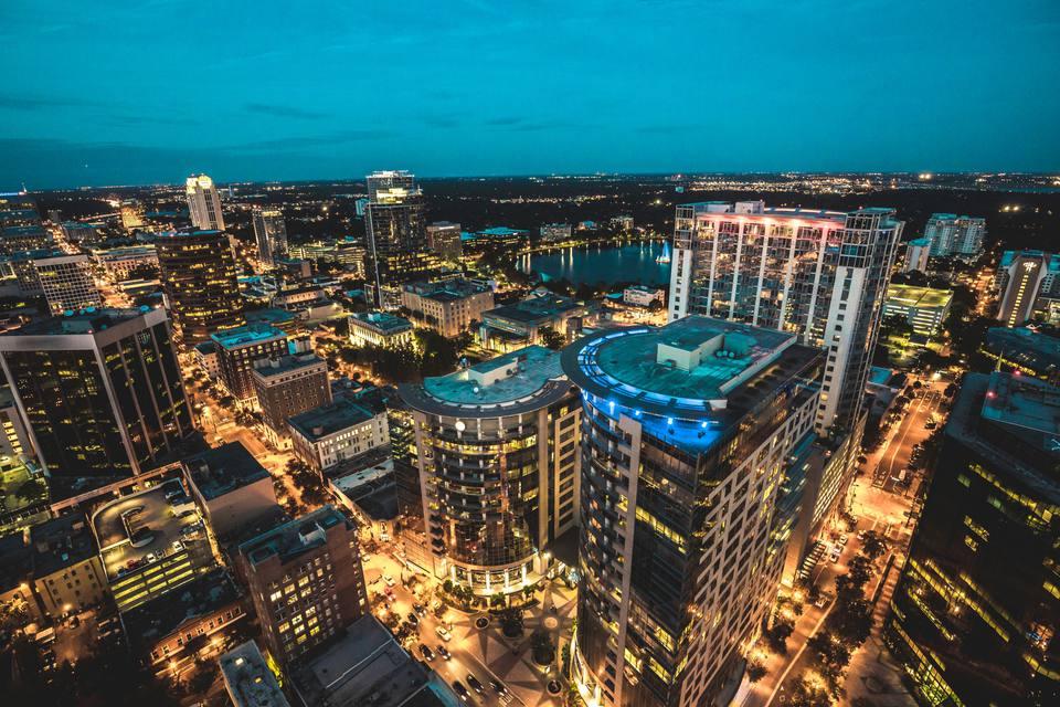 'Night shot of downtown, Orlando'