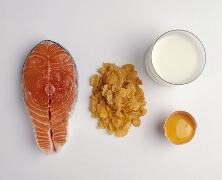 Salmon steak, fortified cereals (cornflakes), glass of milk and egg yolk, all sources of Vitamin D