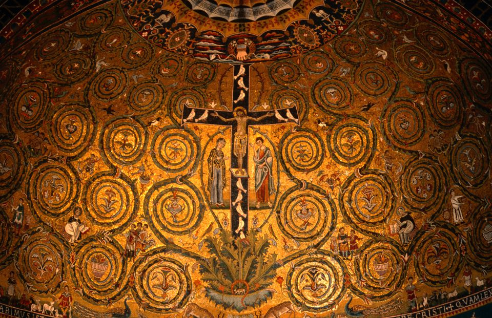 Detail of mosaics in 12th century apse at Basilica di San Clemente.